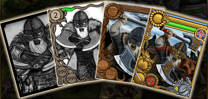 Valhalla, Raids & Gold – The Viking card design