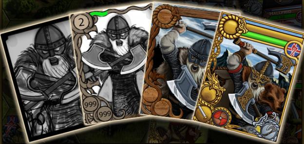 Valhalla, Raids & Gold – The Viking card design